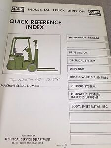 Clark Forklift Tw125 Quick Reference Index Manual