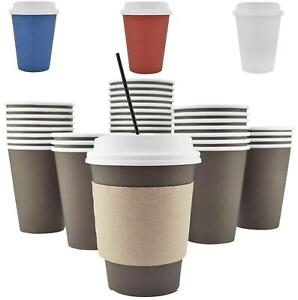 100 Pack 12 Oz 8 16 20 Disposable Hot Paper Coffee Cups Lids Sleeves