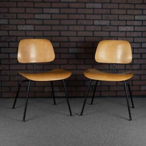 Eames Dcm For Herman Miller Molded Plywood Dining Chair Black Frame Calico Ash