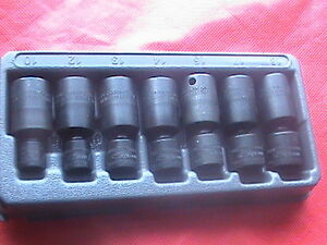 Snap On Metric 3 8 Drive 7 Piece 6 Point Shallow Impact Swivel Sockets 207ipfm