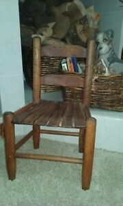 Antique Primitive Farm House Country Cabin Cottage Childs Chair Solid Wood