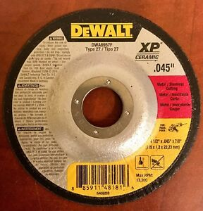 Dewalt Dwa8957f Type 27 4 1 2 x 045 x7 8 Metal stainless Cutting Disc 100pcs
