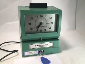 Acroprint Time Recorder Model 125nr4 Time Clock W Key Ribbon Tested Works