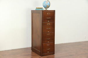 Oak Antique 4 Drawer Office Or Library Filing Or Music File Cabinet 29711