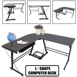 L shape Corner Computer Gaming Desk Glass Top Laptop Table Workstation Office