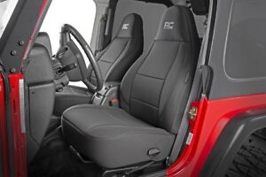 Rough Country Black Neoprene Waterproof Seat Cover For 97 02 Jeep Wrangler Tj