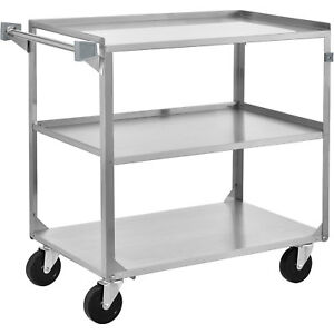 3 Shelf Stainless Steel Utility Cart 30 3 4 X 18 3 8 X 33 300 Lb Cap Lot Of 1