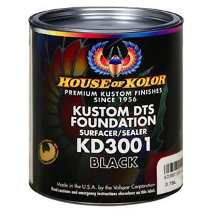 House Of Kolor Kd3001 g01 Kustom Dts Foundation Surfacer sealer Black Gallon