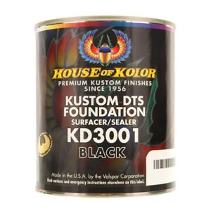 House Of Kolor Kd3001 q01 Kustom Dts Foundation Surfacer sealer Black Quart