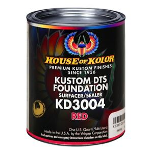 House Of Kolor Kd3004 q01 Kustom Dts Foundation Surfacer sealer Red Quart