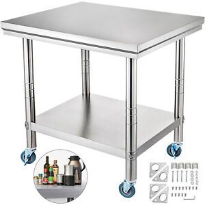 36 X 24 Stainless Steel Commercial Kitchen Prep Work Table W 4 Casters