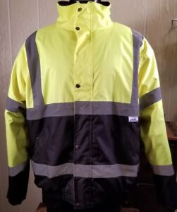 Truecrest Lined Safety Protective Construction Jacket Zip W Collar Hood Sz 2xl