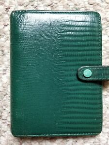 Vintage Filofax Tejus 4 Ring Green Planner Organiser Calf Leather