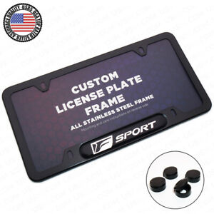 Black Stainless Steel Front Rear Emblem License Plate Frame Cover Gift F Sport