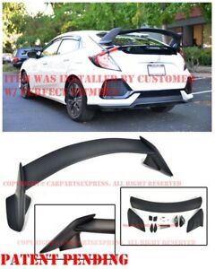 Type R Style Rear Trunk Wing Spoiler Body Kit Fit 16 up Honda Civic Hatchback
