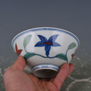 China Antique Porcelainon Ming Chenghua Doucai Hand Painting Flower Bowl A2