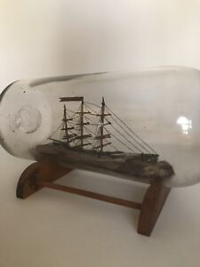 Antique Vintage Ship In A Bottle Circa 1900s Nautical Schooner Georgia Ship