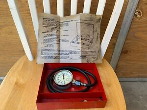 Vintage Snap On Oil Pressure Gauge Set Mt37 W Metal Case
