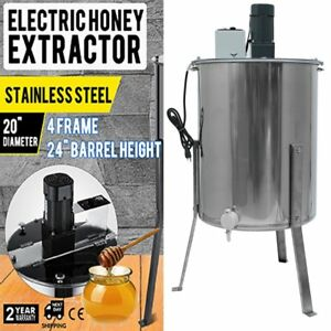 Four 4 8 Frame Stainless Steel Honey Extractor Electric Beehive 120w Motor Usa