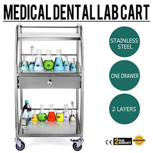 Three Layers Medical Serving Trolley Drawer Dental Lab Cart Stainless Steel Sfw