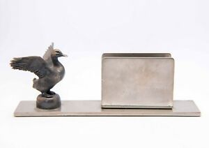 Antique Silver Plated Business Card Holder For Desk With Silver Plated Duck
