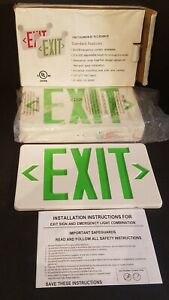 New In Box Tcxcom G U W Evenlite Green Led Exit Sign And Emergency Light Combo