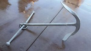 Large Antique Usa Silver Cast Iron Nautical Maritime Sea Ship Boat Art Anchor Wc
