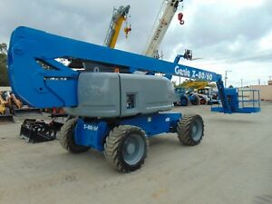 2007 Genie Z80 60 Articulating Telescopic Boom Man Lift W Jib Dual Fuel 4x4