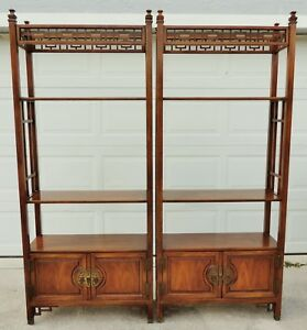 Antique Vtg Solid Oak Etagere Fretwork Open Book Case Shelf Cabinet Pair Avail