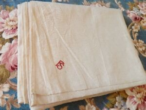 Antique 19thc Linen Bed Sheet W Red Embroidery Initials Fs 100 5 X 79 5