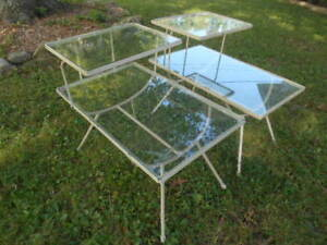 Pair Vintage Mid Century Modern Steel Iron Step End Tables W Glass Tops Patio