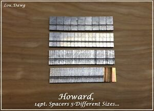 Howard Machine Personalizer 14pt Spacers 5 sizes Hot Foil Stamping Machine