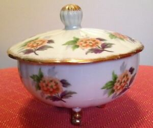 Japan Porcelain Sugar Bowl With Gold Feet And Flowers