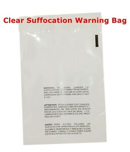 200 11x14 Clear Self Seal Lip Tape Plastic Bags W Suffocation Warning