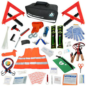 Car Emergency Roadside Assistance Kit 112 Pieces First Aid Kit Premium Jumper