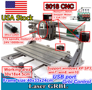 usa Desktop 3 Axis 3018 Usb Diy Cnc Router Milling Engraver Laser Machine er11