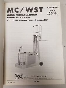 Yale Forklift Mc Wst Maintenance And Parts Manual