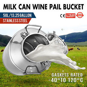 50l 13 25 Gallon Stainless Steel Milk Can Dairy Farm Wine Pail Dairy Farm