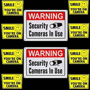 Metal Security Cameras In Use Warning Signs smile Your On Video Sticker Lot