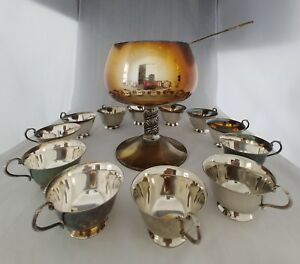 Vintage Silver Plated Pedestal Punch Bowl W 12 Cups Ladle Made In Spain Pt026