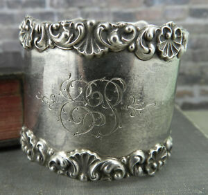 Antique Signed W Sterling Silver Floral Napkin Ring 2553