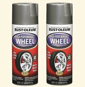 Wheel Rim Spray Paint 2 11 Oz Cans Metallic Steel Hubcap Stops Rust Formula