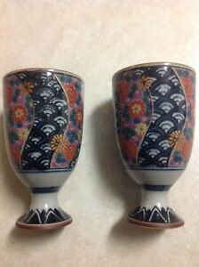 Set Of Two Kutani Ware Japanese Porcelain Sake Cups With Gold