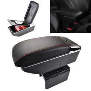 Universal Dual Decker Car Center Console Armrest Box Pu Leather Storage Cup Hold