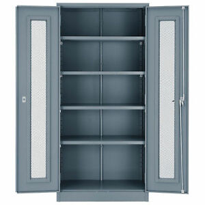 Assembled Storage Cabinet With Expanded Metal Door 36x18x78 Gray Lot Of 1