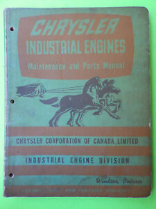 1950 s 1960 s Chrysler Industrial Engine Maintenance Parts Book Mopar Chryco