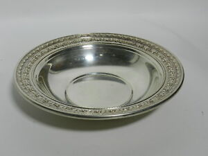 Vintage Wallace Silverplate N4136 Floral Trim Epns Bowl Candy Dish Vt2627