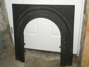 Antique Cast Iron Fireplace Cover Frame Mythical Maiden Sharp Son 1895