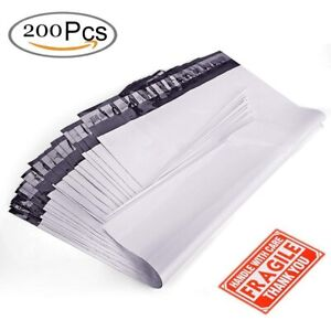 200 Poly Mailers 9x12 Shipping Envelopes Self Sealing Plastic Mailing Bags White