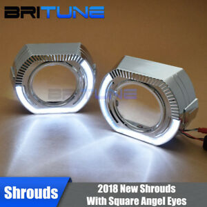 C Shape Square Led Angel Eyes Halo Drl Shrouds Mask For 3 0 Hid Projector Lens